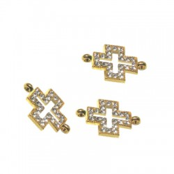 Rhinestone Cross 8x15mm W/ 2 Rings