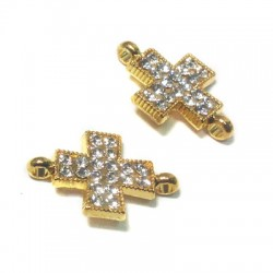 Rhinestone Cross 13x19mm W/ 2 Rings