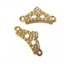 Rhinestone Crown 11x23mm W/ 2 Rings