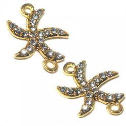 Rhinestone Seastar 22x19mm W/ 2 Rings