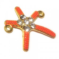 Rhinestone Seastar 29x25mm W/ 2 Rings