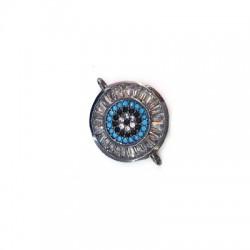 Μεταλλικό Μπρούτζινο Στρογγυλό με Ζιργκόν για Μακραμέ 15mm