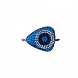 Intercalaire œil porte-bonheur en Métal/Laiton avec Zircons 22x18mm