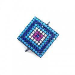 Μεταλλικό Μπρούτζινο Τετράγωνο με Ζιργκόν για Μακραμέ 17mm