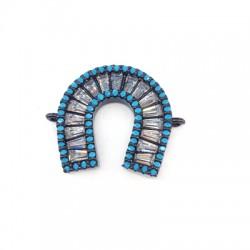 Connettore in Ottone Ferro di Cavallo con Zirconi 19mm