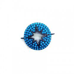 Μεταλλικό Μπρούτζινο Στοιχείο Αστέρι Ζιργκόν Μακραμέ 20mm
