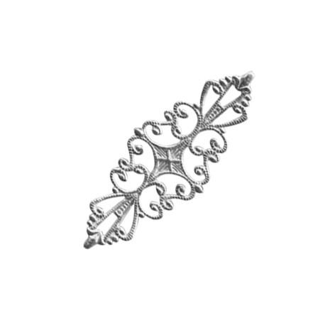Brass Filigree Long Flower 55x16mm
