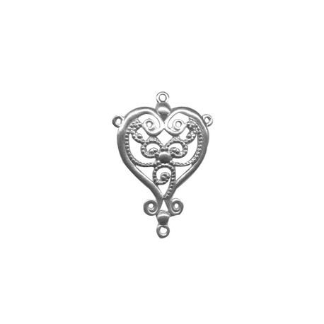 Brass Filigree Heart with 4 Rings 24x35mm