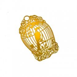 Brass Filigree Pendant Bird w/ Cage 58x36mm