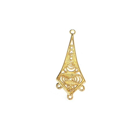 Brass Pendant with 3 holes 13x30mm