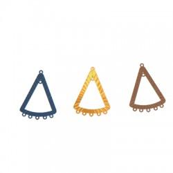 Pendentif triangle filigrane en Métal/Laiton 25x32mm avec 7 anneaux