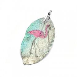 Natural Leaf Pendant Flamingo Plated (~40x60mm)