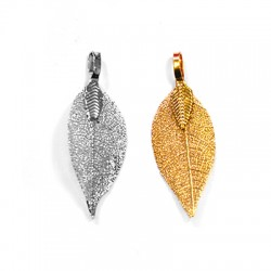 Natural Leaf Plated Pendant (~25x40mm)