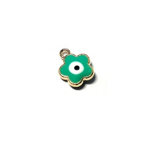 Metal Zamak  Enamel Pendant Flower Eye 12mm
