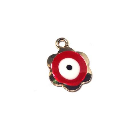 Metal Zamak  Enamel Pendant Flower Eye 14mm
