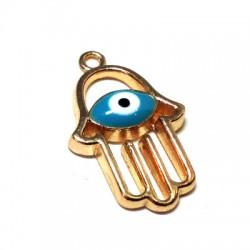 Metal Zamak Charm Enamel Hand Eye 15x21mm