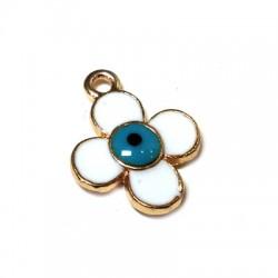 Μεταλλικό Μοτίφ Λουλούδι Μάτι με Σμάλτο 14mm