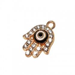 Metal Zamak Charm Enamel Hand Eye 12x14MM