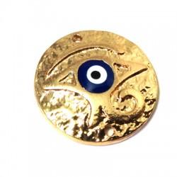 Ciondolo in Zama Disco con Occhio Turco Smaltato 22mm