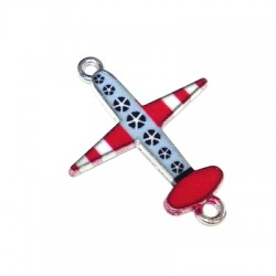 Metal Zamak Cast Connector Charm Aeroplane with Enamel 20x20mm