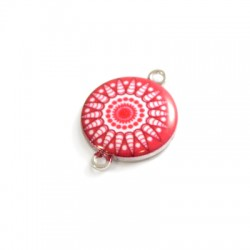 Metal Zamak Cast Connector Round Charm with Enamel 19mm