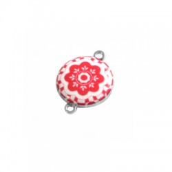 Metal Zamak Cast Connector Flower with Enamel 19mm