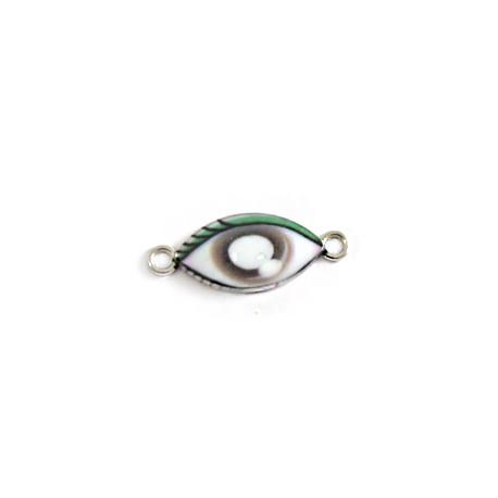 Metal Zamak Cast Connector Charm Eye  with Enamel 11x19mm