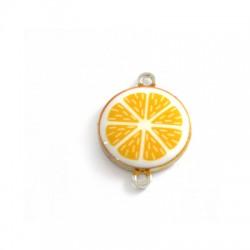 Μετ. Στοιχείο Στρογγυλό Πορτοκάλι με Σμάλτο για Μακραμέ 18mm