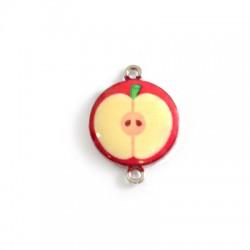 Μεταλλικό Στοιχείο Στρογγυλό Μήλο με Σμάλτο για Μακραμέ 18mm
