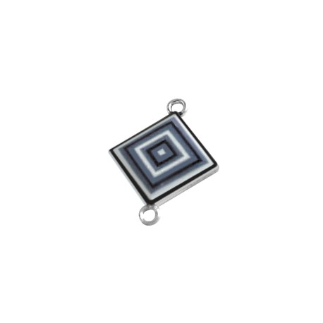Metal Zamak Cast Connector Charm Square with Enamel 18mm