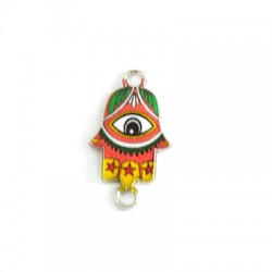 Metal Zamak Cast Connector Charm Hamsa Hand with Enamel 13x17mm