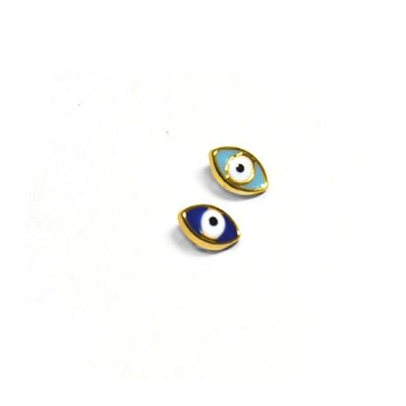 Passante in Zama Ovale con Occhio Portafortuna Smaltato 6x9mm (Ø3.2x2.2mm)