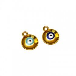 Metal Charm Round Eye w/ Enamel 12mm