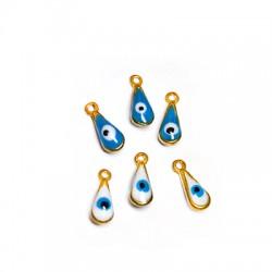Brass Charm Drop w/ Enamel Eye 8x11mm