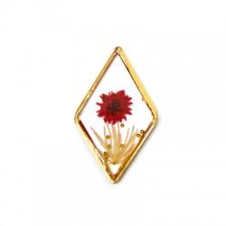 Zamak Charm Rhombus Flower w/ Enamel 22x37mm