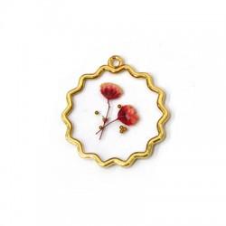 Zamak Pendant Round Flower w/ Enamel 27mm