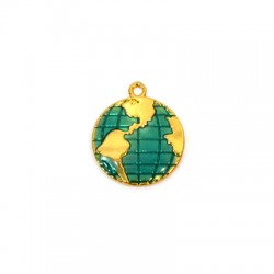 Zamak Pendant World Globe w/ Enamel 15x17mm