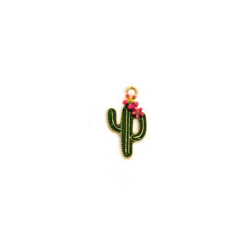 Μεταλλικό Ζάμακ Χυτό Μοτίφ Κάκτος Λουλούδι με Σμάλτο 12x20mm