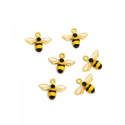 Μεταλλικό Ζάμακ Χυτό Μοτίφ Μέλισσα με Σμάλτο 14x10mm