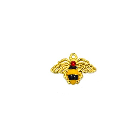 Μεταλλικό Ζάμακ Χυτό Μοτίφ Μέλισσα με Σμάλτο & Στρας 21x13mm
