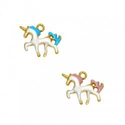 Zamak Charm Unicorn w/ Enamel 19x12mm