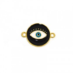 Μεταλλικό Ζάμακ Χυτό Στρογγυλό Μάτι Σμάλτο για Μακραμέ 18mm