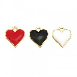 Zamak Charm Heart w/ Enamel 12x13mm