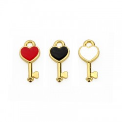 Zamak Charm Key Heart w/ Enamel 6x16mm