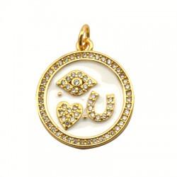 Brass Charm Round Luck Symbols w/ Enamel 22mm