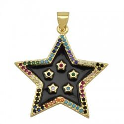 Brass Charm Star w/ Enamel 27mm