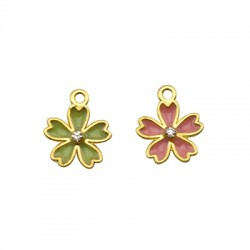 Zamak Charm Flower w/ Enamel & Strass 14mm