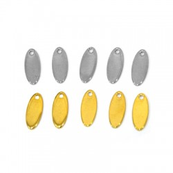 Stainless Steel 304 Charm Oval 5x12mm