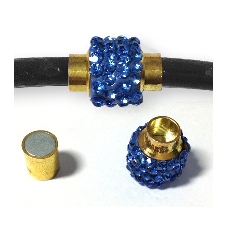 Brass Magnetic Clasp With Rhinestones 12x15.5mm (Ø 5.5mm)