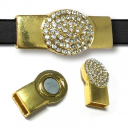 Z/A Magnet Oval Clasp with Rhinestones 41x18mm (Ø 11χ4mm)
